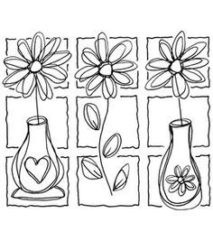 great idea for a stamped image! make into tiled picture and mount in picture frame/shadow box Colouring Pages, Adult Coloring Pages, Coloring Books, Doodle Drawings, Doodle Art, Happy Paintings, Flower Doodles, Colorful Drawings, Whimsical Art