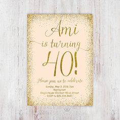 Gold glitter 40th birthday invitations от InvitationsDigital