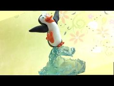 Polymer clay and polyester resin- Surfer penguin - YouTube