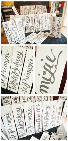 Calligraphic buffet signboards - freehand paint on wood