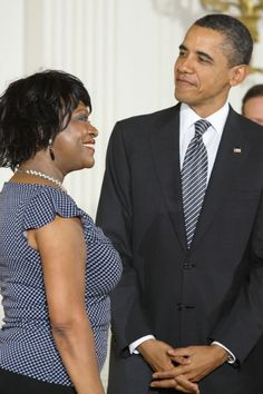 Poet/author Rita Dove with President Barack Obama at the National Medal of the Arts ceremony on February 13, 2012. Photo by Anthony Brown, Imigination Photography