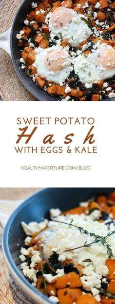 Maple Sweet Potato Hash with Fried Eggs and Kale is a delicious weekend brunch recipe that is sure to satisfy!