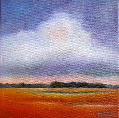 Coastal marsh art: Vibrant orange, purple, peach, melon, coral— marsh landscape with wispy lavender sky and white clouds.    October Marsh I