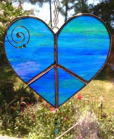 Stained Glass Peace Hearts by KippaxDecorativeArt on Etsy