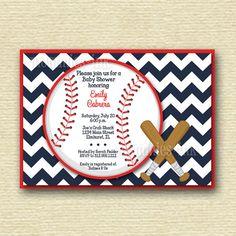 Chevron Baseball Baby Shower Invitation - PRINTABLE INVITATION DESIGN on Etsy, $14.00