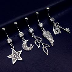 5pcs 2017 new arrivals clear crystal leaves star wings lock and key dangling navel belly bar button rings body piercing jewelry