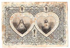 Twin Hearts Sacred Heart Antique French Catholic Holy Prayer