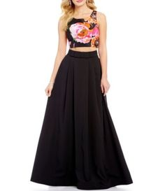 Sequin Hearts Floral Crop Top to Solid Skirt Two-Piece Long Dress #Dillards