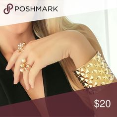 Get the look! Gold Cuff Bracelet & Statement Rings This is a set! Perfect for that pop to any outfit and definitely going to get you conpliments! ? The rings feature faux rhinestone and pearl accents.  All items are NWT boutique items. Jewelry