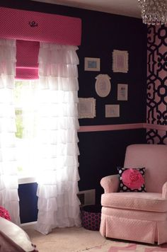 Navy walls, pink chair rail... accent wall. Chandelier, pink recliner! Okay I know what I want if it's a girl.