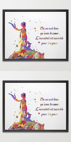 Dignovel Studios 8X10 The Little Prince Quote Art Le Petit Prince inspiration Watercolor Art Print Poster Home Decor Wall Hanging Kids Room Art Birthday Gift N154