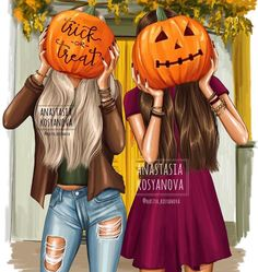 Trick or Treat 🕸🦇 Who waits? Fall Drawings, Bff Drawings, Colorful Drawings, Best Friend Pictures, Bff Pictures, Fashion Sketches, Fashion Illustrations, Best Friend Wallpaper, Disney Collection