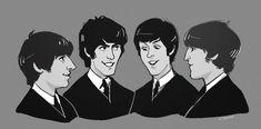 the beatles ! Beatles Funny, The Beatles 1, Beatles Art, Beatles Guitar, Fanart, Classic Rock Bands, The Fab Four, Yellow Submarine, Ringo Starr