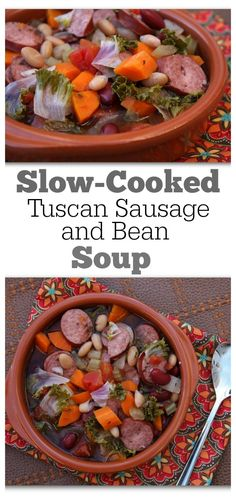Slow Cooked Tuscan Sausage and Bean Soup #recipe : such a delicious, filling recipe.  Nutritional information and Weight Watcher's points included.