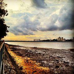 Sandy, rocky coastline #woodlands #waterfront #singapore #sunset #sky #clouds #cloud #jetty #johor #strait #jb #malaysia #causeway #singapore #sg #lowtide #guosheng #guoshengz #iphone4s