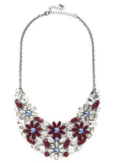 Berry Granita Necklace - Blue, Flower, Rhinestones, Statement, Silver, Better, Multi, Purple, White