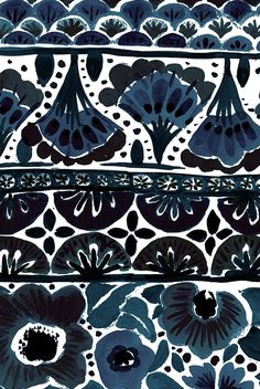 Painted Flowers Stripe - Indigo by Crystal_Walen. Bohemian, boho, floral, stripe, ethnic, indigo blue. Available in fabric, wallpaper, and gift wrap.