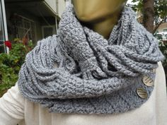 Croched infinity scarf chunky Cowl scarf winter by scarfandyou