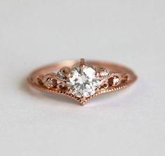 Vintage Moissanite Engagement Ring, Art Deco Engagement Ring, Rose Gold Engagement Ring, Round Moissanite Ring, Diamond Moissanite Ring