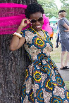Bleu jaune et brun africaine imprimer robe Alice au par GitasPortal, £65.00