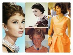 Lessons in wearing pearls from Princess Diana, Jackie O, Coco Chanel & Audrey Hepburn! Check it out!