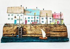 One of a kind Driftwood art house miniatures. Completly hand made from driftwood, reclaimed wood, nails and wires and other metal work details. Ships worldwide.  driftwood art  driftwood house  driftwood cottage  miniature house tiny house  miniature wood house diorama houses
