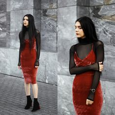 Holynights Claudia - Mind The Mustard Turtleneck, Sheinside Velvet Dress, Shuzee Boots - Brick red Stylish Clothes For Women, Stylish Outfits, Cute Outfits, Fashion Outfits, Alternative Outfits, Alternative Fashion, Alternative Style, Moda Fashion, Womens Fashion