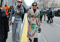 Valentina Collado in a Loewe pendant (left) and Karla Martinez de Salas (right) in a Burberry Prorsum coat