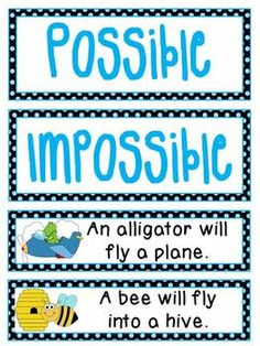 "Probability: probability fun with this ""Possible"" or ""Impossible"" Sentence Sort!Fun probability literacy station where students sort 32 illustrated sentences as being ""Possible"" or ""Impossible"" - kids will love the silly sentences and cute pictures. These are included in the super jam-packed Probability MEGA Packwhich I highly recommend for teaching probability!"