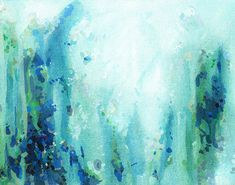 Thundering Mountain, fine art print, blue and green art, living room wall art, modern sophisticated abstract painting