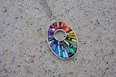 Rainbow Chakra Mosaic Pendant by Crooked Moon Studio