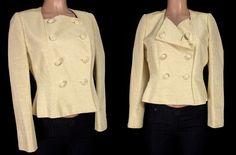 EMMANUELLE KHANH PARIS Jacket Size 44 M Medium Yellow Metallic Vtg Blazer Rare #EmmanuelleKhanh #BasicJacket