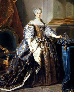 Marie Leczinska (1703-1768), was a Polish princess and Queen consort of France from 1725 until 1768 by marriage to Louis XV. The daughter of King Stanislaus I of Poland and Catherine Opalińska, her 42-year service was the longest of any queen in French history. French History, European History, Anglo Saxon, King Queen, Historical Photos, Poland, Renaissance, Medieval, Marriage