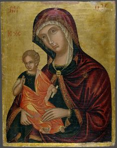 """""""Of her was born Jesus who is called the Messiah."""" Matthew // Virgin and Child / La Virgen y el Niño // ca. 1500 // Unknown artist (Veneto-Byzantine) // © The Yale University Art Gallery St Clare's, Religious Paintings, Byzantine Icons, Madonna And Child, Orthodox Icons, Mother Mary, Illuminated Manuscript, Animals Beautiful, New Art"""