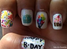 Looking for birthday nails? We've got a great selection of birthday nail designs and tutorials to help you make your nails look fabulous for your big day Birthday Nail Art, Birthday Nail Designs, Girl Birthday, Happy Birthday, Sassy Nails, Cute Nails, Pretty Nails, Nail Mania, La Nails
