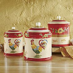3-Piece Sunflower Rooster Canister Set from Seventh Avenue ®