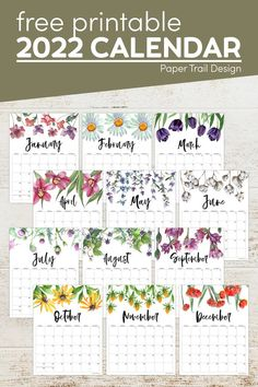 Print our floral 2022 calendar free printable from January to December or just print the months that you need. Free Printable Calendar Templates, Printable Planner Pages, Free Printables, Paper Trail, Weekly Planner, Happy Planner, Planners, Life Hacks, Floral Design