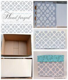 So Crafty! The Hand Forged Stencil gives this cardboard box storage organizer a fun twist! http://www.cuttingedgestencils.com/furniture-craft-stencil-pattern.html