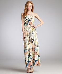 T-Bags yellow watercolor floral print jersey halter maxi dress   BLUEFLY up to 70% off designer brands at bluefly.com