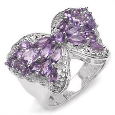 3.40 Carat Genuine Amethyst Butterfly Theme Silver Ring #jewelry #butterfly #purple