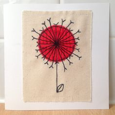 Dandelion Clock unframed wall art or greetings card, handmade stitched applique - can be personalised Applique Designs, Machine Embroidery Designs, Embroidery Applique, Embroidery Patterns, Sewing Ideas, Sewing Projects, Dandelion Clock, Cushion Ideas, Fabric Postcards