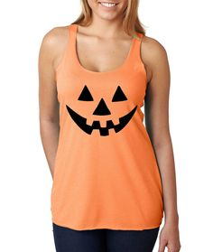 Jack O Lantern pumpkin Women's Triblend Tanktop Halloween costume