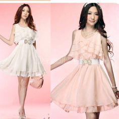 New Women's Fashion Summer Crewneck Round Neck Flouncing Sleeveless Chiffon Dress