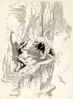 "Frank Frazetta drawing.   ""There is just no ignoring the situation."""