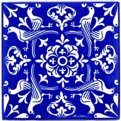 MOURNING DOVES RENAISSANCE TILE - WALL PLAQUE - TRIVET (RT-2)  This Cobalt Blue and White tile was Inspired by Historic Renaissance Art Tile... At the dawn of the Renaissance, it was widely believed t