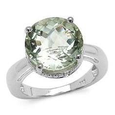 5.60 Carat Green Amethyst & Sterling Silver Ring... Modern and nicely translucent!