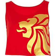 red team gb print crop tank top - tank tops - t shirts / vests / sweats - women - River Island