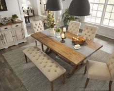 This table & chair combo is absolutely beautiful Bench Dining Room Table, Table With Bench Seat, Upholstered Dining Bench, Wooden Dining Tables, Dining Room Design, Farm Tables, Dining Room Sets, Rustic Table, Side Tables