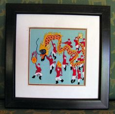 Chinese Silk Embroidery Panel Dragon People by retrosideshow