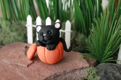 Polymer Clay Cat in Pumpkin Miniature Black Cat by GnomeWoods